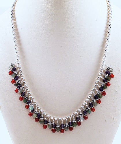 Amethyst Carnelian Jasper Sterling Silver Chain Necklace