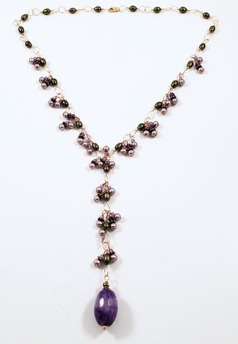 Amethyst Drop Y Necklace With Pearls & Gold Accents