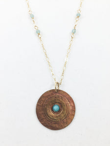 Copper Medallion Necklace with Blue Onyx