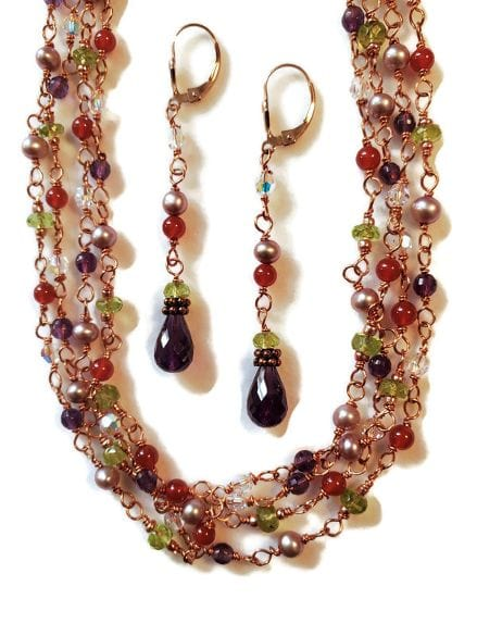 Amethyst Peridot Carnelian Pearl Jasper Copper Long Necklace