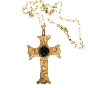 Amethyst Textured Brass Cross