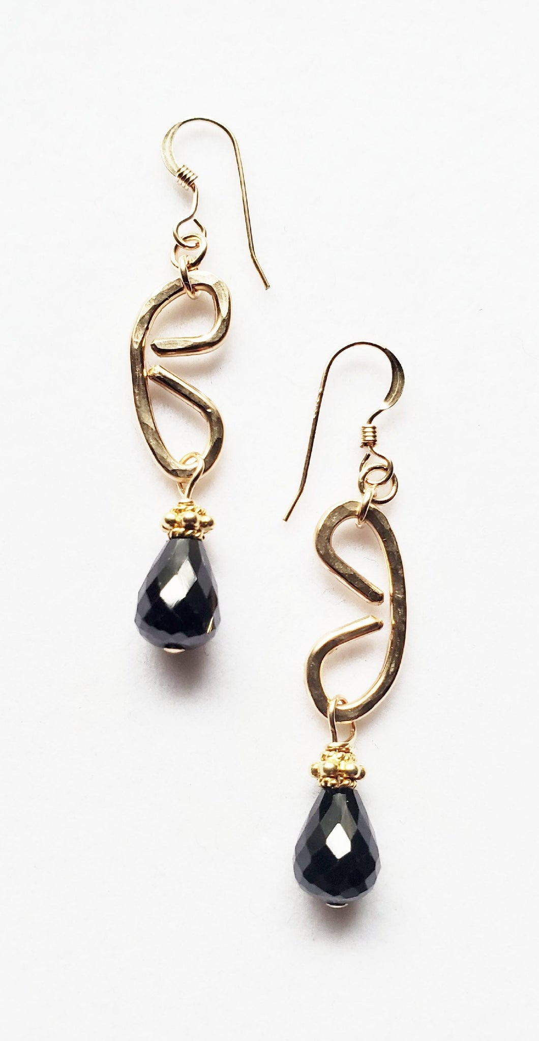 Black Spinel Freeform Gold Earring