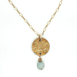 Brass Hand Stamped Floral Necklace