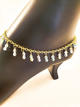All Gold Swarovski Crystals Drop Ankle Bracelet