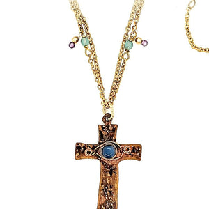 Chalcedony Cross Necklace With Pink Amethyst