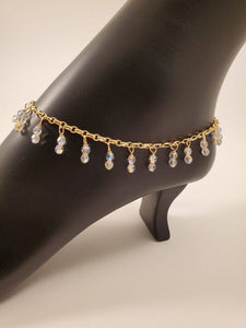 Gold Ankle Bracelet With Swarovski Crystal Drops