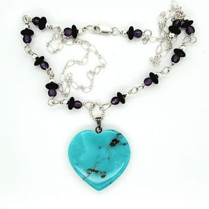 Turquoise Heart Gemstone Necklace