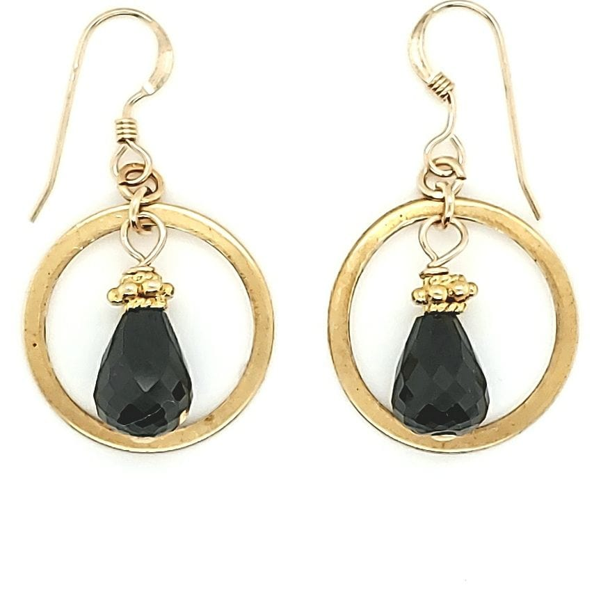 Black Spinel Brass Hoop Earrings