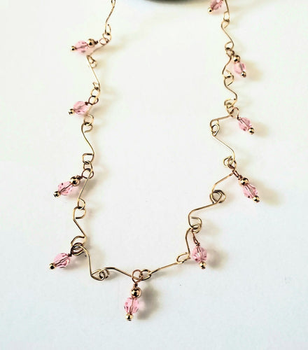 Pink Crystal Necklace Gold Handmade Chain