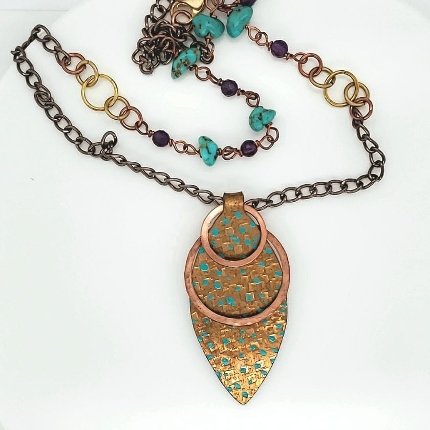 Brass Textured Patina Necklace With Turquoise & Amethyst