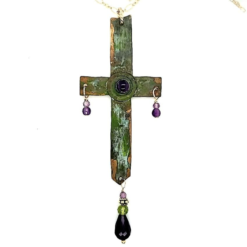 Patina Cross With Amethyst Accents