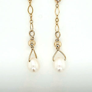 White Pearl Gold lever Back Drop Earring