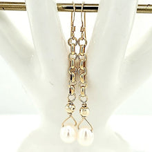 Gold French Wire Chain 14K Accent Pearl Drop Earrings