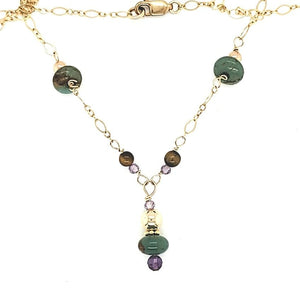 Turquoise Amethyst Tiger Eye Drop Necklace
