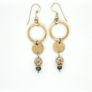 Tourmaline Brass Dangle French Wire Earring