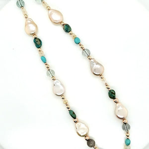 Sleeping Beauty Turquoise Opal Pearl Necklace.
