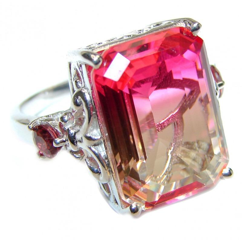 25ct Pink Tourmaline Color Topaz .925 Sterling Silver Handcrafted Ring (Sizes 6 1/4, 7 3/4 & 8 3/4)
