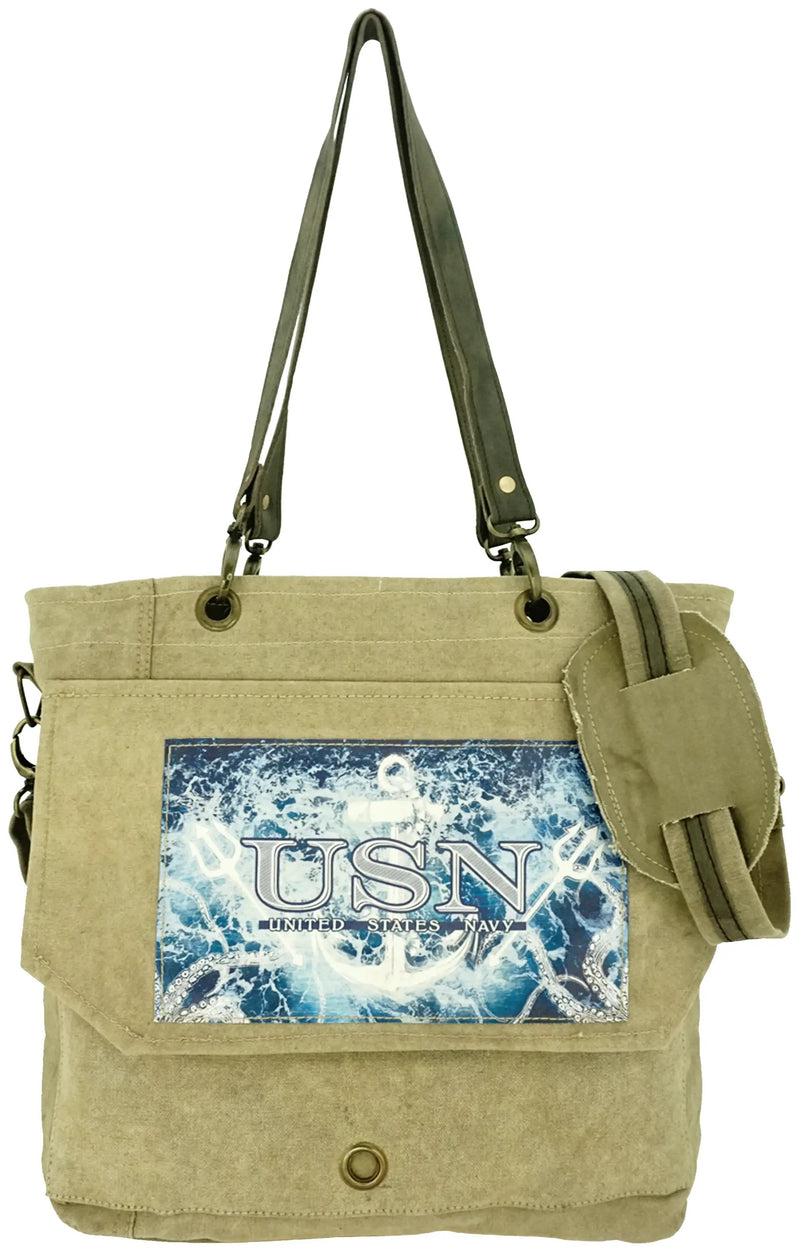 Vintage Recycled Military Tent Messenger Bags (Marines, Army, Navy)