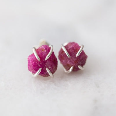 Raw Gemstone Stud Earrings (Amethyst, Emerald, Ruby, Garnet, Tanzanite, Amazonite, Aquamarine, Rose Quartz, Sapphire)