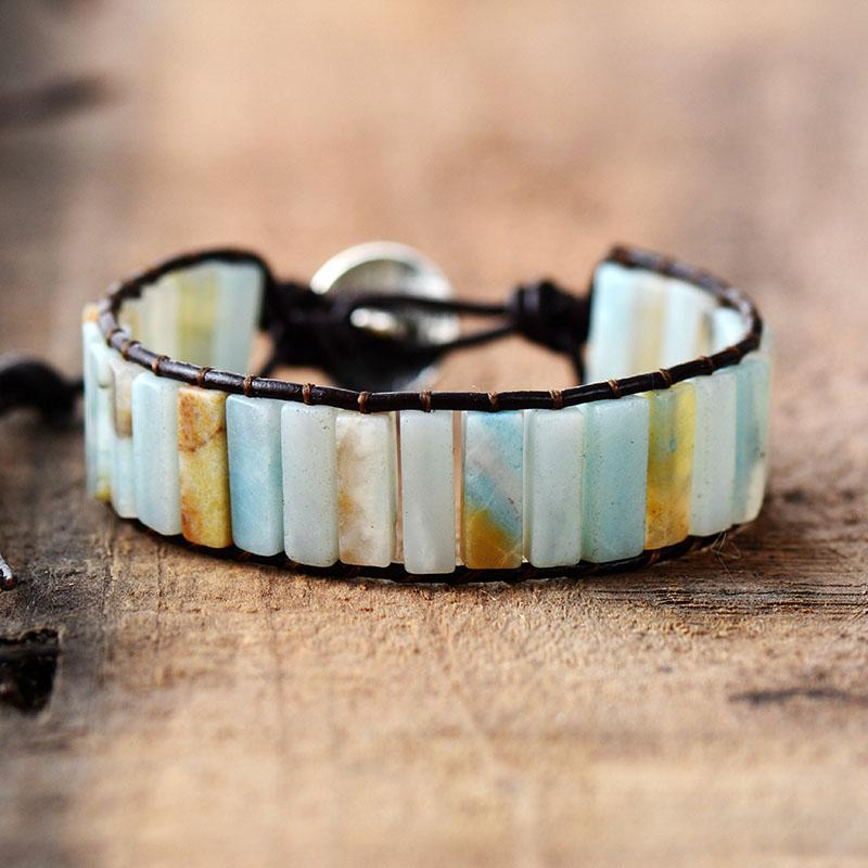 Amazonite And Leather Bohemian Bracelet