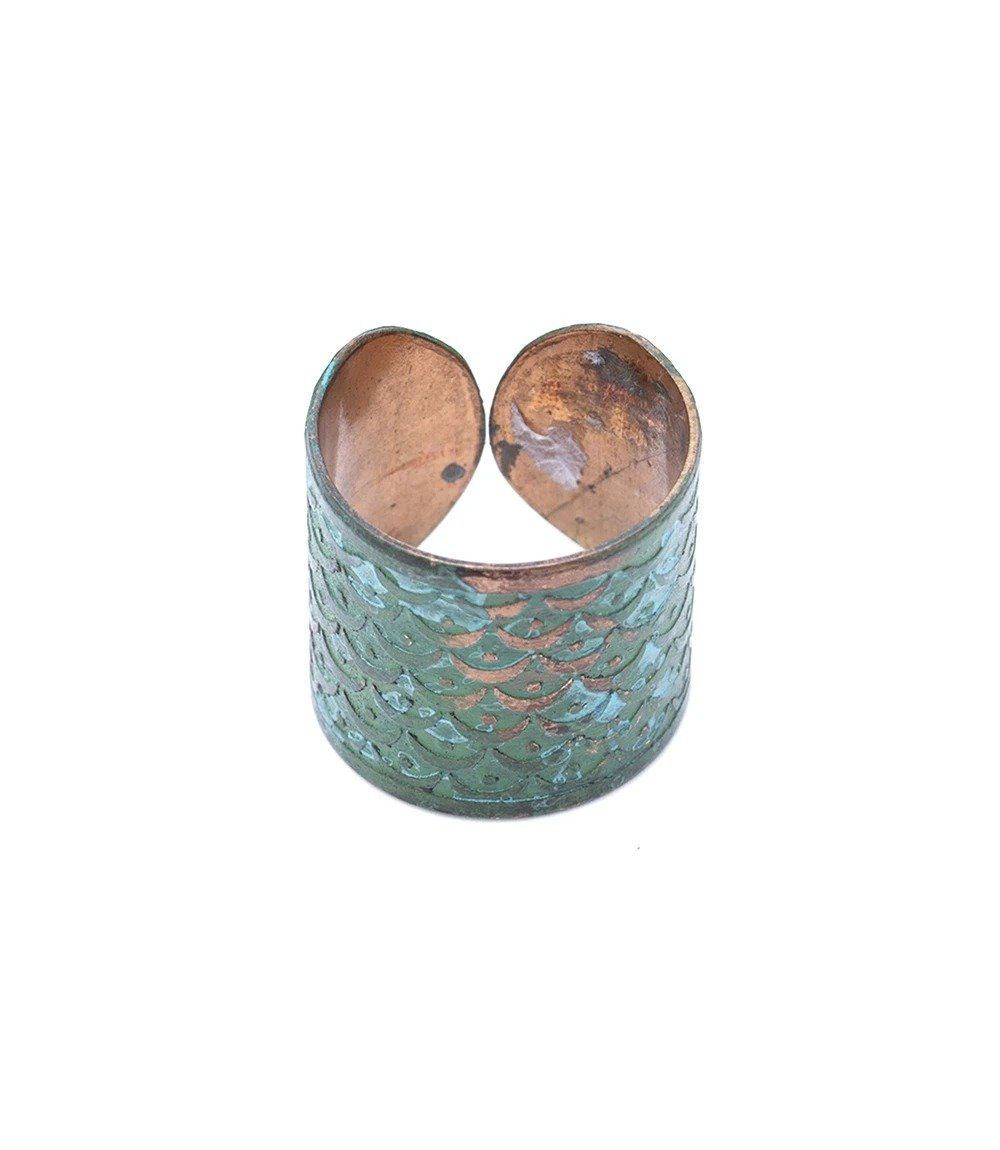 Art Deco Scallop Cuff Ring (Patina)