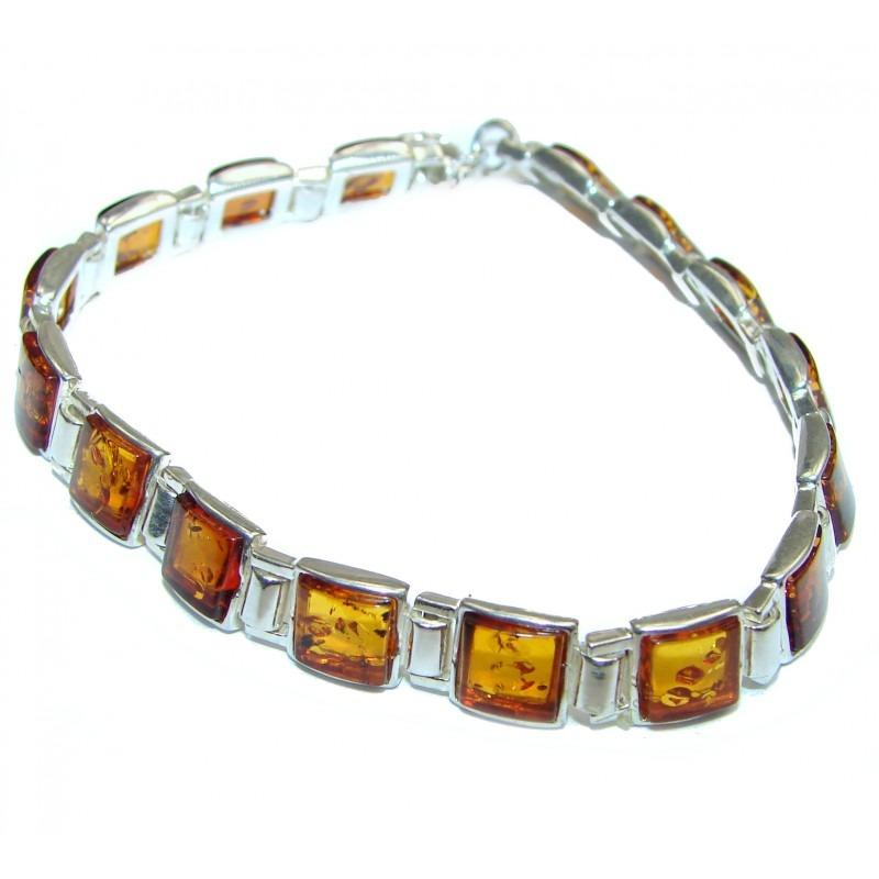 Authentic Baltic Polish Amber .925 Sterling Silver Handcrafted Bracelet