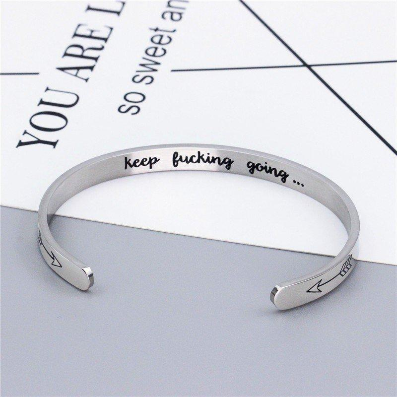 Bangles - Motivational Message Metal Cuff Bracelet