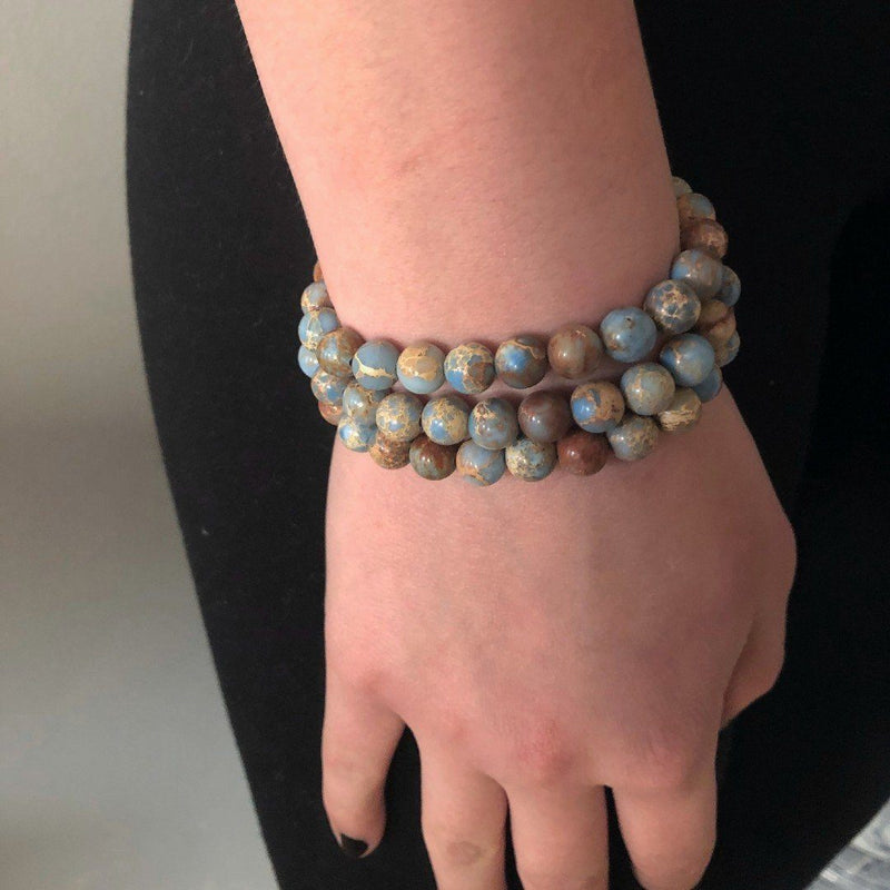 Blue Jasper Genuine Stone Stretch Bracelet Set
