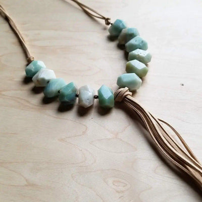 Chunky Amazonite With Tan Fringe Tassel Necklace