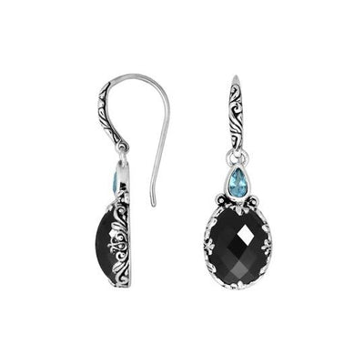 Dual Stone Classic-Inspired Dangle Royalty Earrings (In Blue Topaz W/ 7 Stone Options)