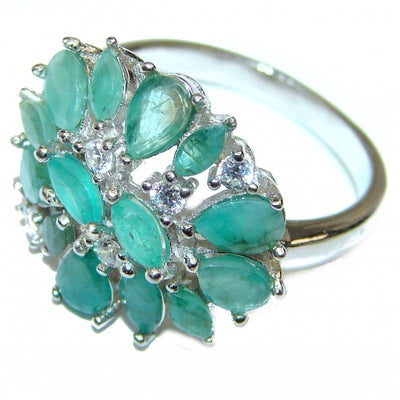 Emerald Handcrafted Multi-Stone Ring (Size 8)