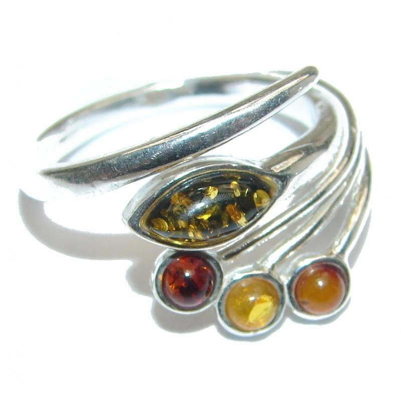 Genuine Baltic Amber .925 Sterling Silver Handmade Ring Size 8