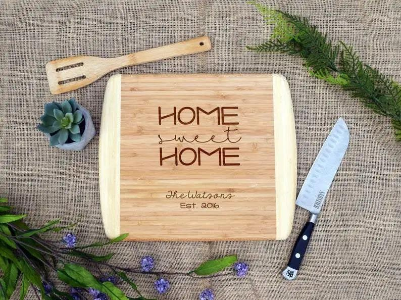 Home Sweet Home Two Tone Cutting Board