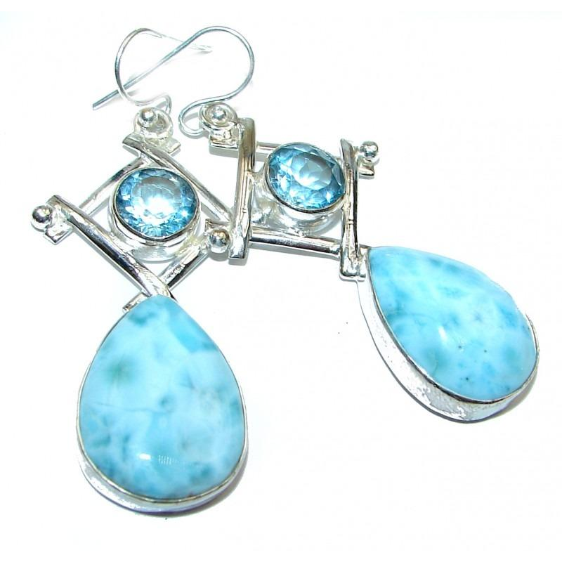 Large Blue Larimar And Swiss Blue Topaz .925 Handcrafted Earrings