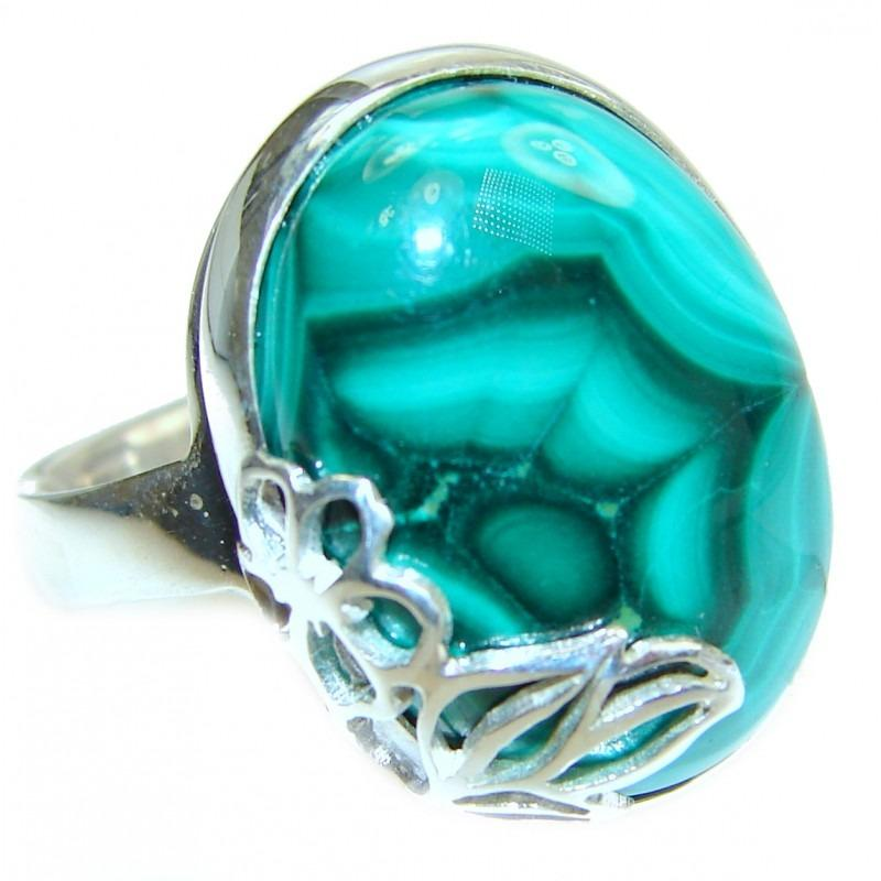 Malachite Stone Handcrafted Ring (Size 7 Adjustable)