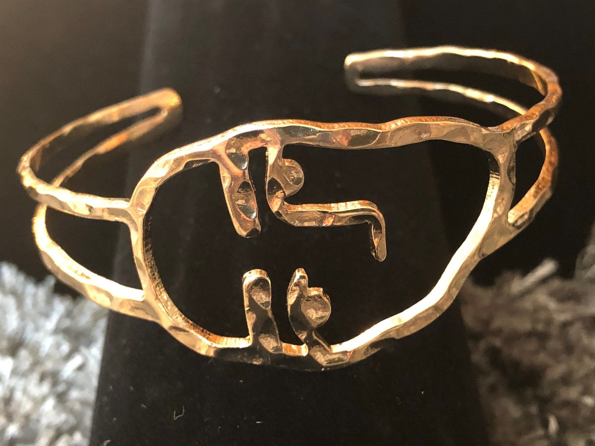 Modern Art Abstract Face Gold Cuff Bracelet