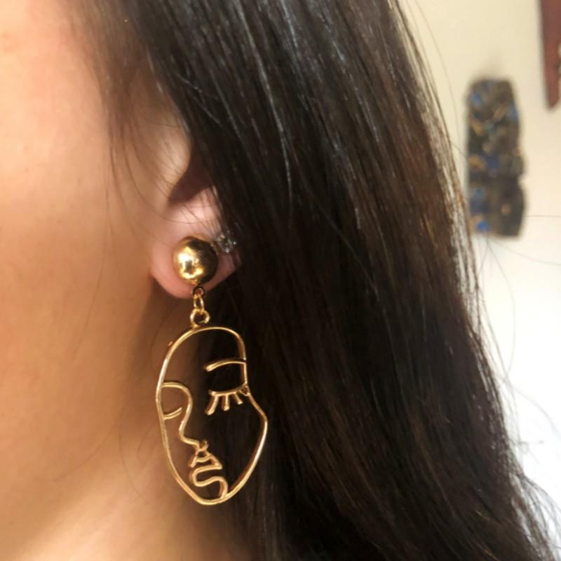 Modern Art Face Gold Post Earrings