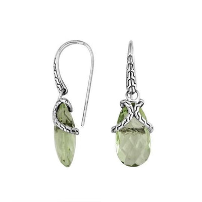 Modern Rope Detail Gemstone Drop Earring (In Blue Topaz, London Blue Topaz Or Green Amethyst)