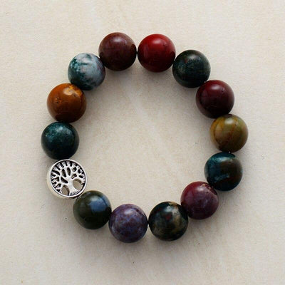 Natural Onyx Stone Tree Charm Beaded Bracelet