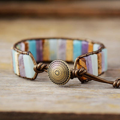 Natural Stone And Leather Bohemian Bracelet