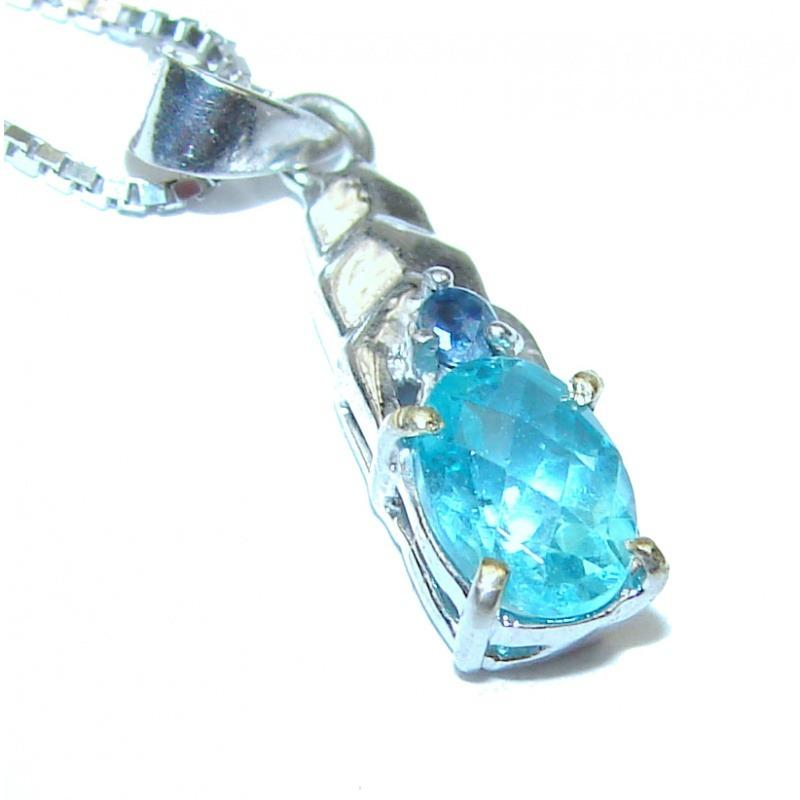 Ocean Inspired Genuine Swiss Blue Topaz .925 Sterling Silver Necklace