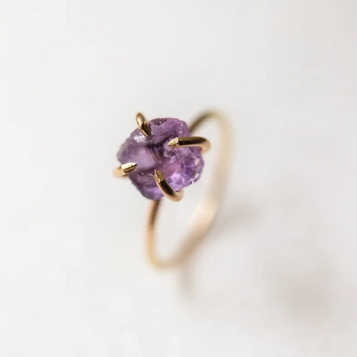 Raw Solitaire Amethyst Gemstone Ring