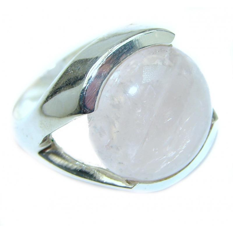 Round Rose Quartz Handcrafted Ring (Size 7 1/4)