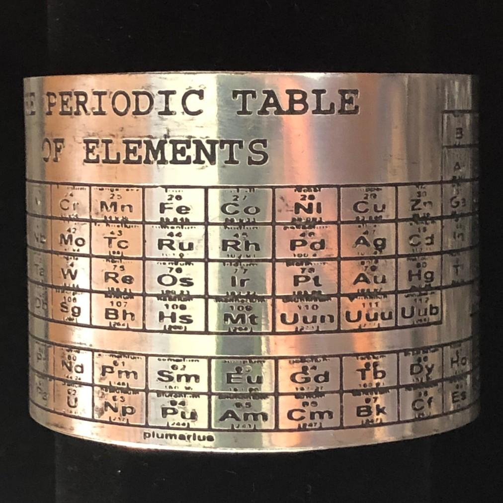 Silver Etched Periodic Table Cuff Bracelet