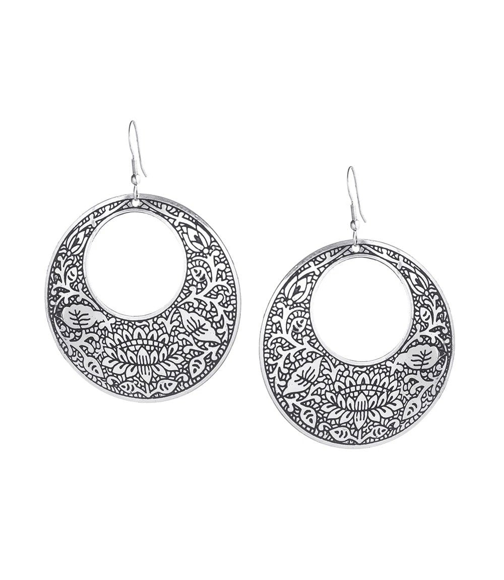Silver Metal Impression Earrings