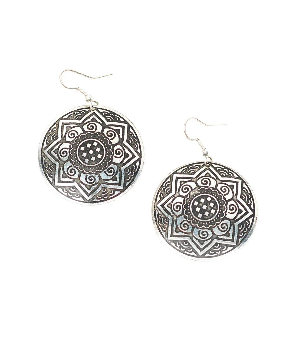Silver Sun Medallion Earrings