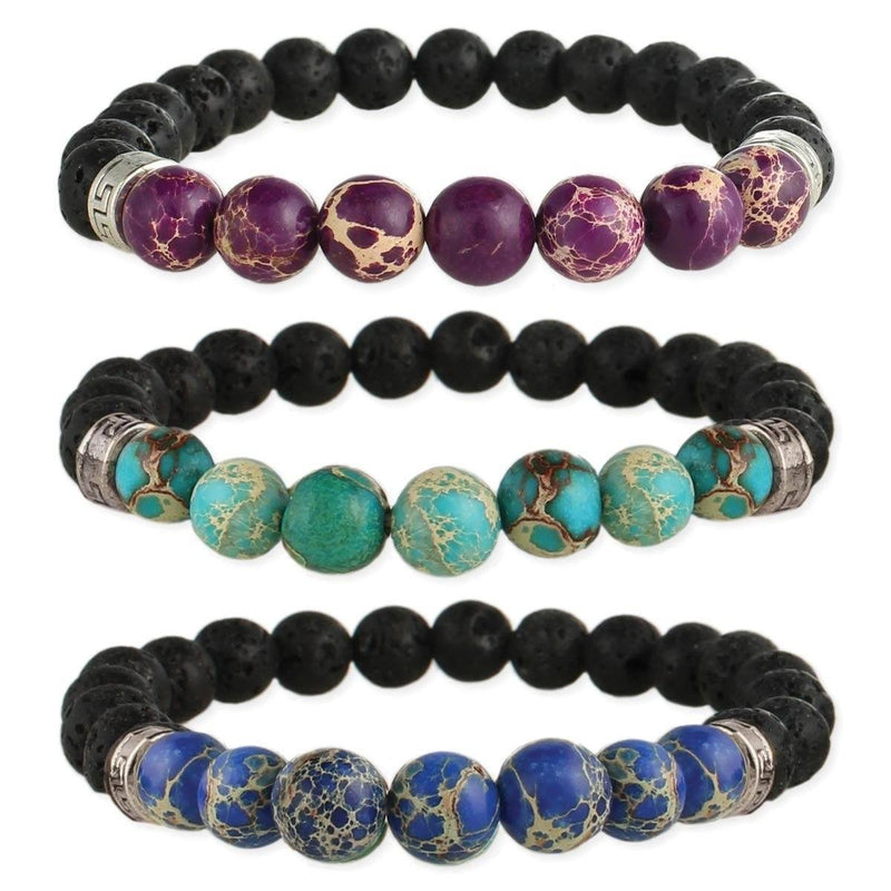 Stone & Lava Bead Essential Oil Diffuser Stretch Bracelet