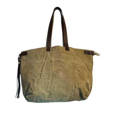 Taupe Cotton Canvas And Leather Handbag