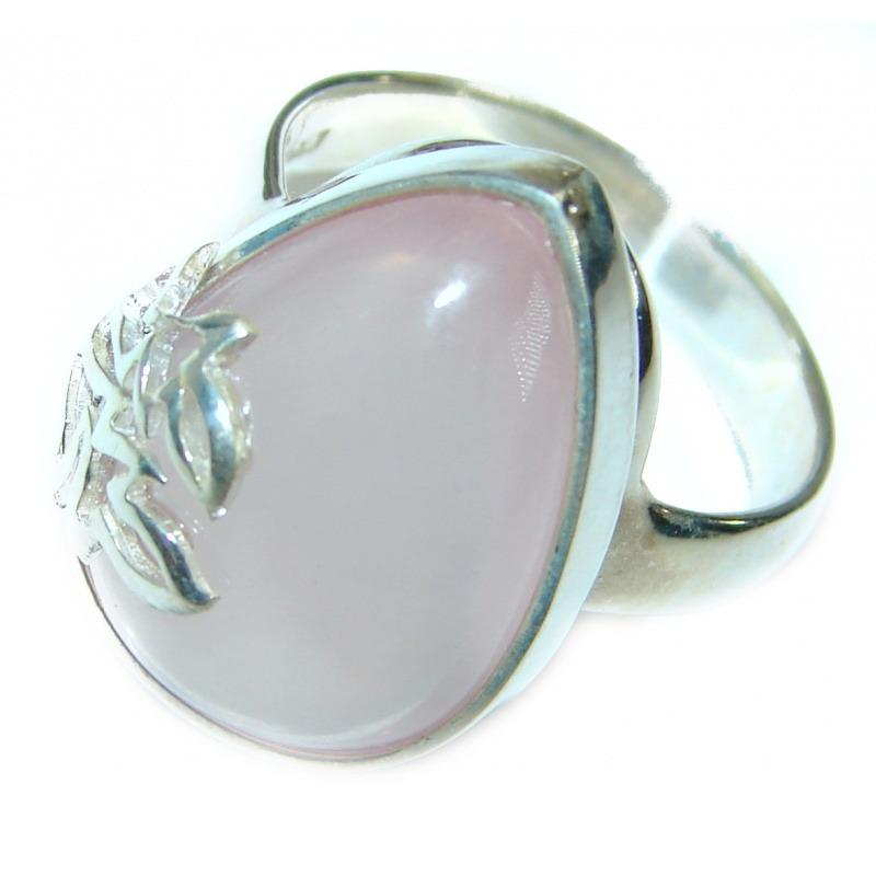 Tear Drop Rose Quartz Handcrafted Ring (Size 7 1/2)