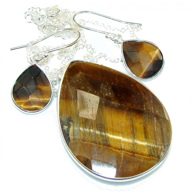 Tigers Eye Sterling Silver Necklace & Earrings Set